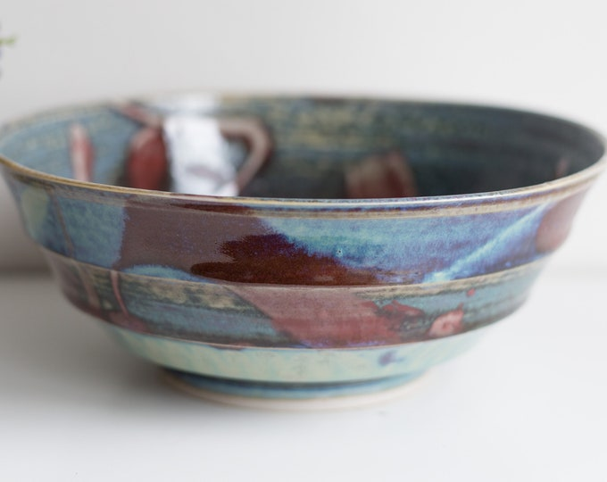 Vintage Glazed Ceramic Bowl Signed at Bottom - Blue and Burgundy Abstract Painted Pottery Dish