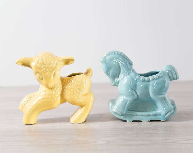Vintage Animal Planters / Ceramic Mid Century Pastel Lamp and Rocking Horse Planters / Soft Yellow and Blue Baby Room Decor