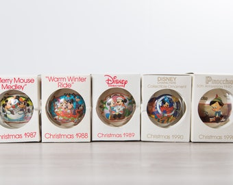 Disney Christmas Bulbs  / Collectible Vintage Decorative Hanging Christmas Tree Ornaments / Kids Children Present