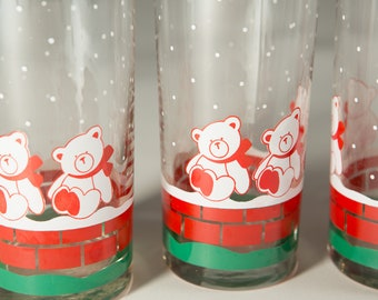 8 Vintage Christmas Bears Glass Cups - Teddy Bear Christmas Kids Collectible Drinking Glasses - Holiday Gift Idea - Gift for Children