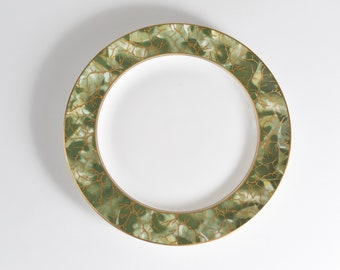 """Aynsley Onyx 9.5"""" Plate - Green and Gold Fine English Bone China - Lush Green Leafy Marbled Jungle Pattern Plate"""