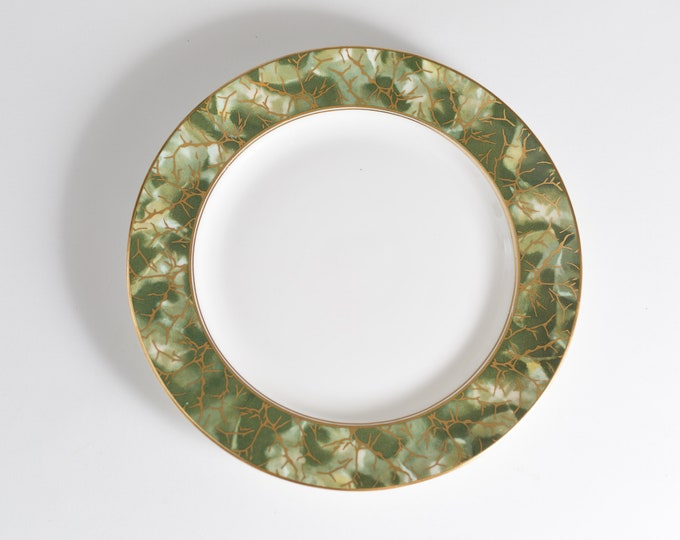 "Aynsley Onyx 9.5"" Plate - Green and Gold Fine English Bone China - Lush Green Leafy Marbled Jungle Pattern Plate"