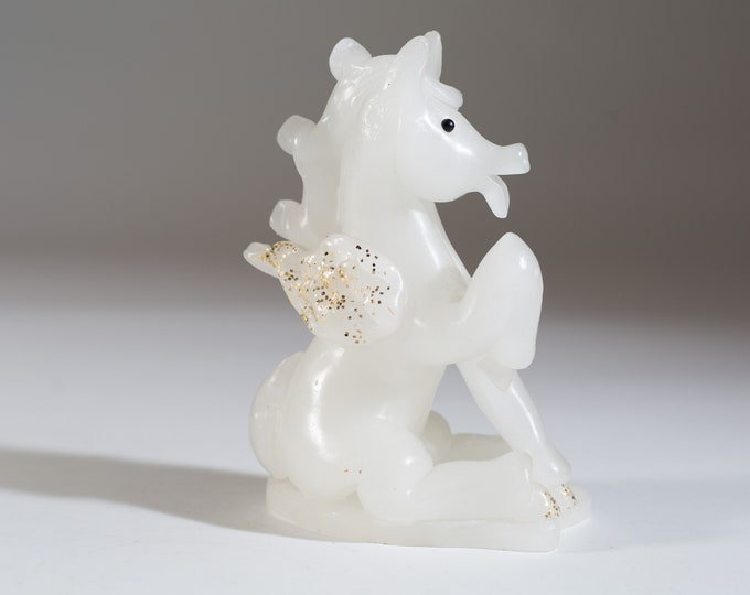 Vintage Horse Candle with Sparkles White Unicorn Figurine knick knack