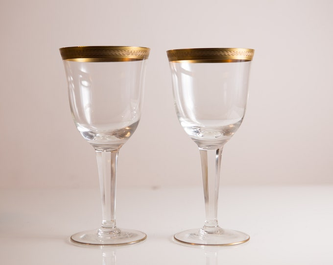 2 Gold Rim Wine Glasses - 12oz Mid Century Hollywood Regency Cocktail Glasses - Retro Party Stemware - Mother's Day Gift