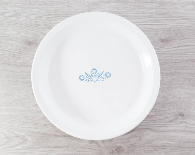 Vintage Pie Plate - 9-inch Corning Ware Corn Flower White and Blue Ornate Pie Plate - P-309 - Made in Canada