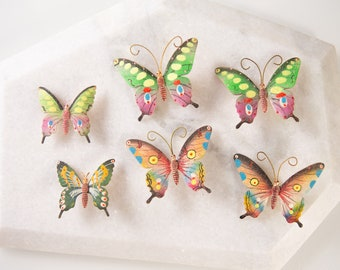 6 Vintage Butterfly Brooches -  Gold Tone Colofrul Metal Pins - Clip on Costume Jewelry Brooch