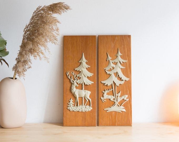 Vintage Deer Art on Wood Plaques - Mid Century Modern Artwork - Animals in Wilderness Decor