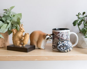 Raccoon Objects with Squirrel Toothpick Holder - Canadian Wilderness Artwork - Arts and CraftsPainted Stone, Ceramic Mug, Wood