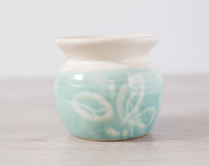 Ceramic Flower Pot / Vintage Clay Studio Art Teal Blue Glaze Pottery Bowl or Pot for Planting Succulents or Flowers or Herbs