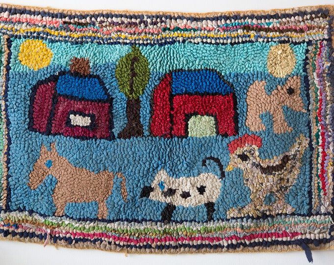Antique Hand Hooked Rug -  American Folk Art - Barnyard Farm Animals Scene - Artisan Crafted Multicolor Handmade Primitive Home Decor Mat