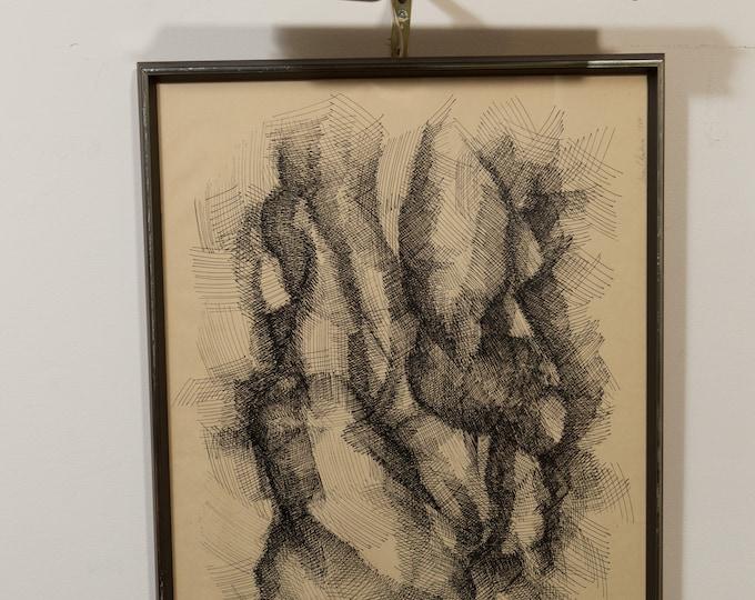 Original Vintage Drawing - Dark Abstract Galactic Pencil Sketch