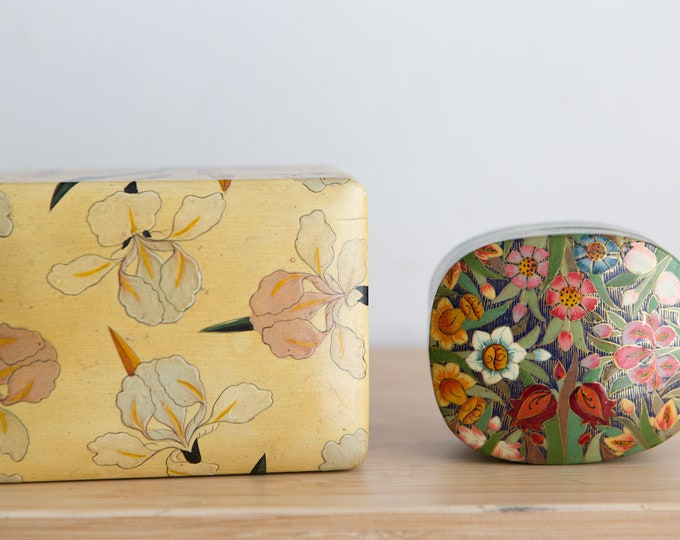 Vintage Trinket Boxes - Handmade and Hand Painted Jewelry and Card Deck Box - Made in India Ring Box