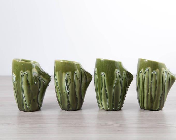 Vintage Green Mugs / Set of 4 Ceramic Coffee Cups / Mid Century Modern Dark Green Earth-tone Textured Vases Planters