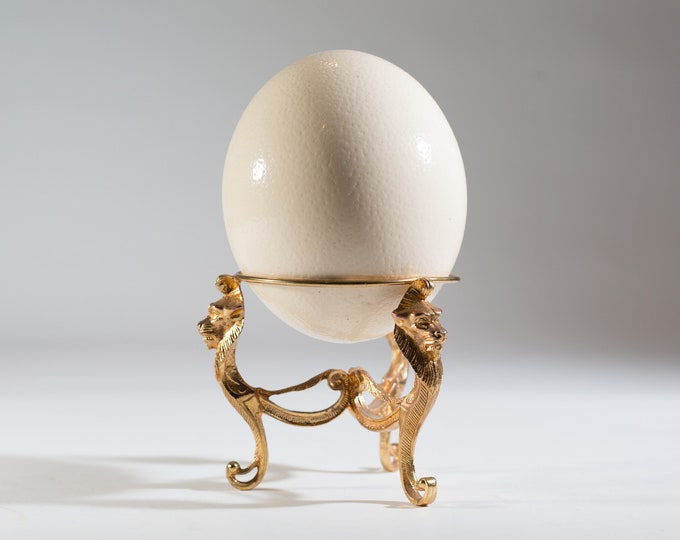 Ostrich Egg Vessel with Lion Sculpture - Vintage Large Hallow Bird Egg with Gold Coloured Base - Hollywood Regency Decor