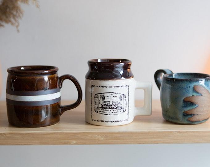 3 Ceramic Mugs - Brown Vintage Mismatched Coffee or Tea Mugs