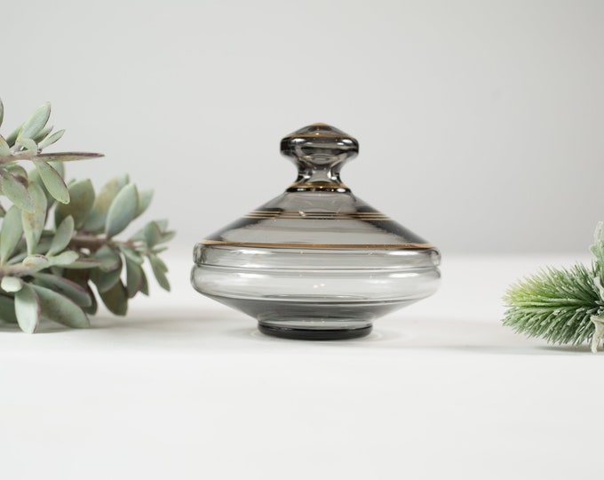Vintage Glass Candy Dish - Grey Glass with Gold Bands Lidded Circular UFO Shaped Art Deco Pattern Dish - Dessert Table Centrepieces