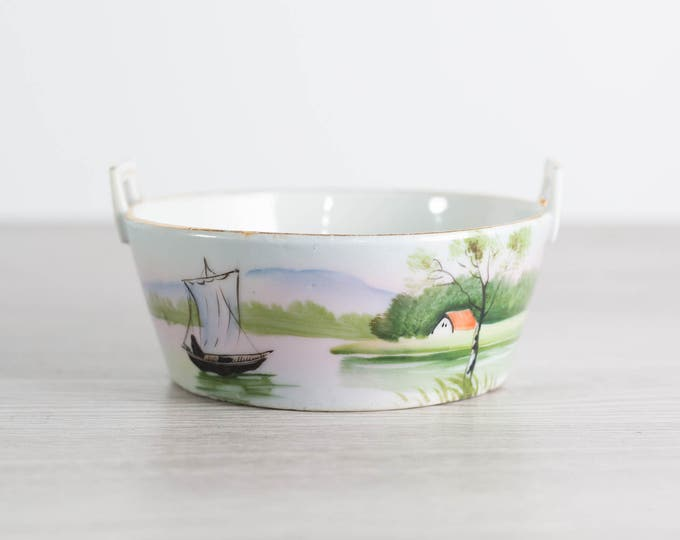 Ceramic Soap Dish / Vintage Hand Painted Soap Dish with Boat and River Scene