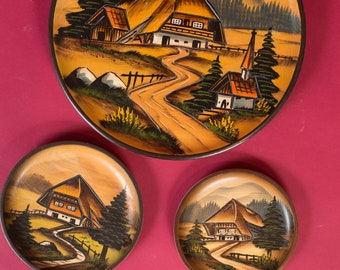 Decorative Wall Plates - Set of 3 Carved and Painted Decorative Wood Plates with Country - Vintage Folk Primitive Handmade European Art
