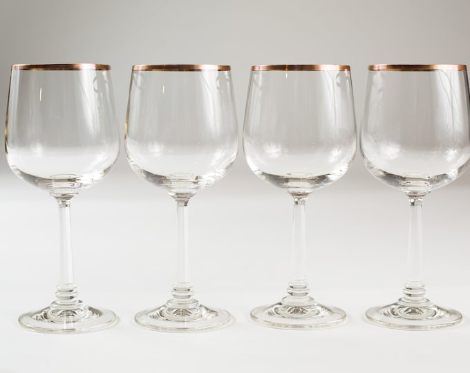 4 Wine Glasses with Gold Rims - 12oz Mid Century Modern Hollywood Regency Cocktail Glasses - Retro Party Stemware - Mother's Day Gift