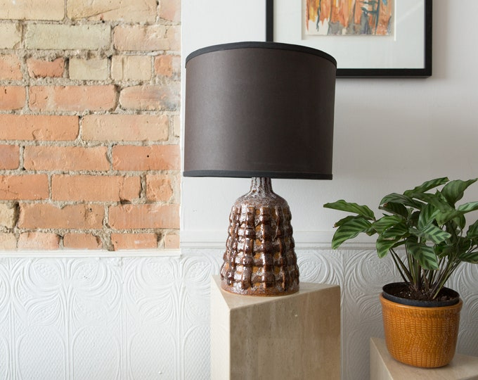 Brown Ceramic Lamp - Vintage Abstract Ceramic Lamp - 1960's  Boho  Mid Century Modern Style Bedside Ceramic Lamp