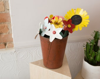 Folk Art Flower Bouquet - Tin Can and Wood Cut Sculpted and Painted Floral Folk Art Arrangement - Sunflowers, White and Pink Flowers