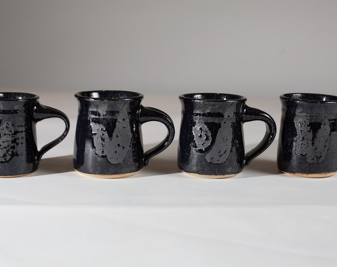 Vintage Ceramic Coffee Mugs - Set of 4 Black Glazed Wet Look Style Tea Stoneware Mugs