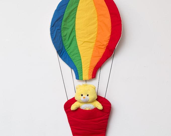 Vintage Air Balloon Wall hanging - Rainbow Balloon Fabric Wall Hanging - 1980's Teddy Bear Holder Kids Baby Room Decor