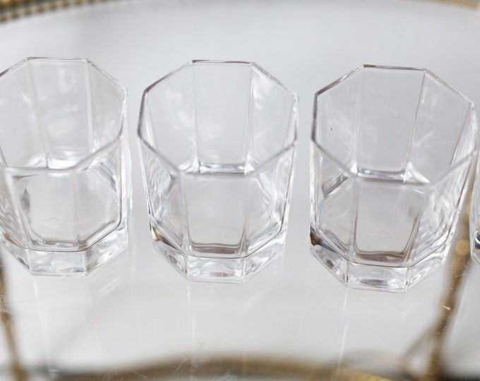 4 Octagon Glasses - 6oz Vintage Set of Lowball Tumbler Barware Glasses - Retro Geometric Drinking Water Glasses