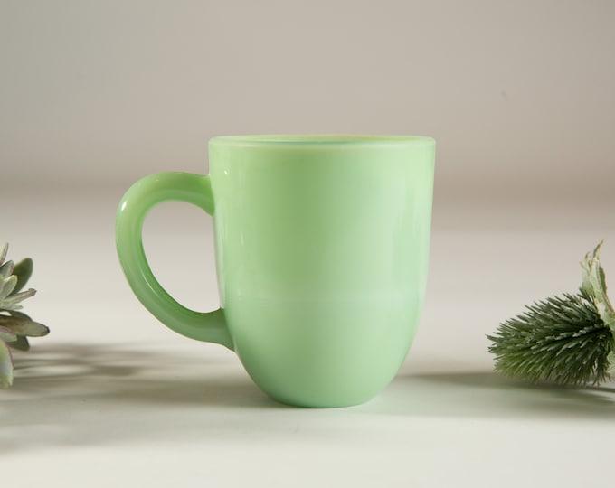 Vintage Jadeite Mug - Green Milk Glass Mug - 8oz Coffee or Tea Mugs - Fire King Ovenware Made in USA Collectible Mug