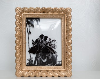 Vintage Framed Silhouette photo of man and Woman Dancing - Monochromatic Black and White Gold Colored Romantic Framed Photo - Anniversary