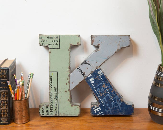 K Marquee Letter - Recycled Metal Blue Green and Grey Store Sign Alphabet Letter- Vintage Rustic Metal Store Sign Wall Art Modern Home Decor