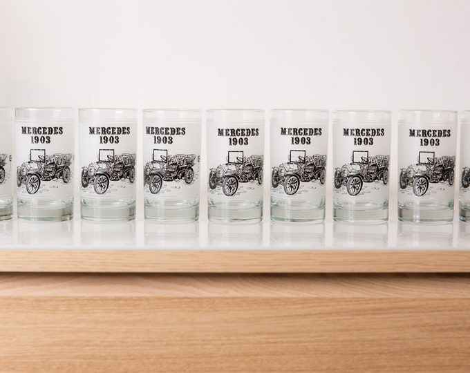 9 Vintage Car Glasses - 12oz Mercedes 1903 Retro Glassware with Black and White Images