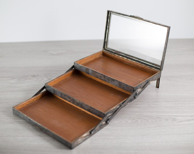 Antique Jewelry Box or Humidor / Silver, Wood and Glass 3-tiered Jewelry Box for rings, necklaces, cigars, etc.