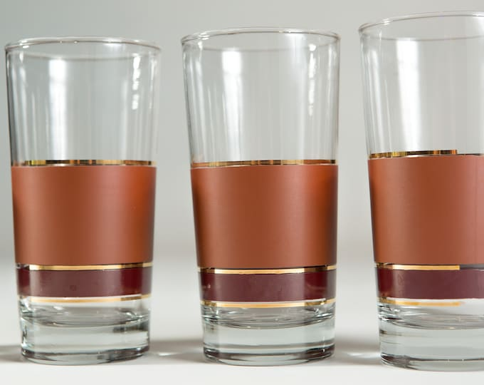 Vintage Striped Cocktail Glasses - set of 4 Summer Drink Brown Coloured Drinking Glasses with Gold Stripes