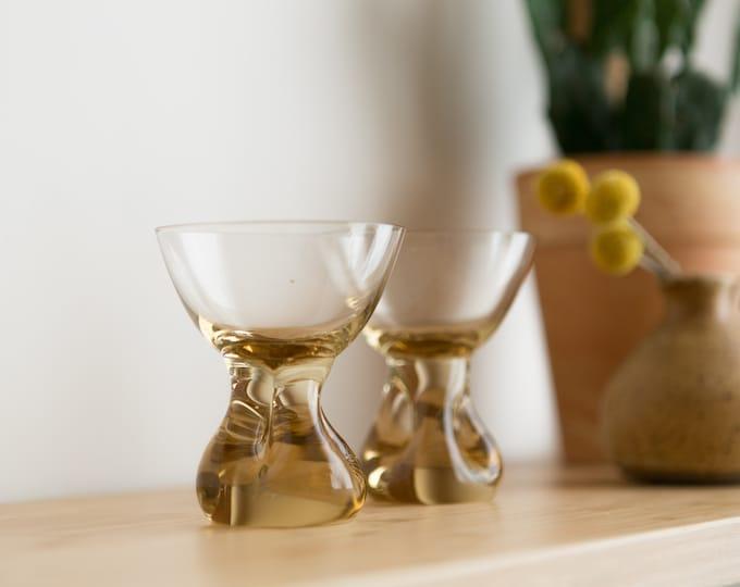 2 Cocktail Glasses - Honey Coloured Stemware - 3.5 ounce Pair of Handblown Amber Glass Stemware