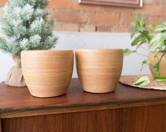 Bamboo Style Ceramic Planters - Brown Ceramic Indoor Plant Pots