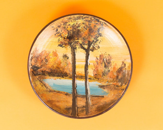 Vintage Wall Plate - Hand Painted Artwork of Autumn Trees, Lake and Forest - Handmade Painting on Ceramic Plate