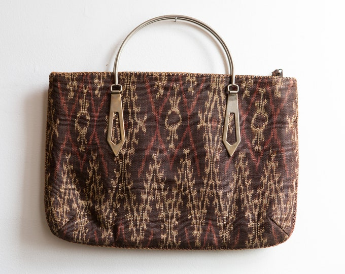 Handmade Woven Purse - Vintage Boho Bag - Brown Chevron Stylish Minimalist Design Reusable eco Bag Purse