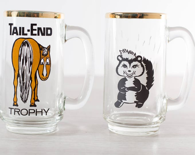Vintage Beer Glasses / Tail End and Skunk Bar Glasses / Collectible Cocktail Glasses / Jackass and Pepé Le Pew