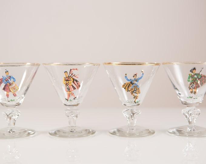 Scottish Highlander Glasses - Vintage Scotland Aperitif Glasses with Gold Bands - Small Stemware Cocktail Glasses - Mid Century Modern Glas