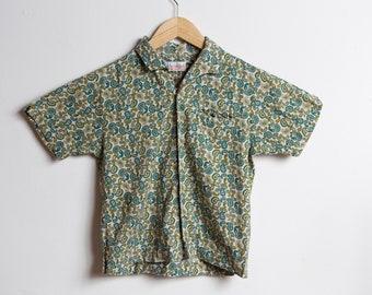 Vintage Kids Shirt - Dan River Fabric Toddler Short Sleeve Paisley Shirt