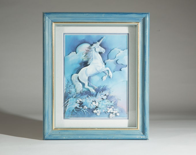 Blue Unicorn Artwork -  Framed Blue 3D Art Majestic Magical Unicorn Handcrafted Art