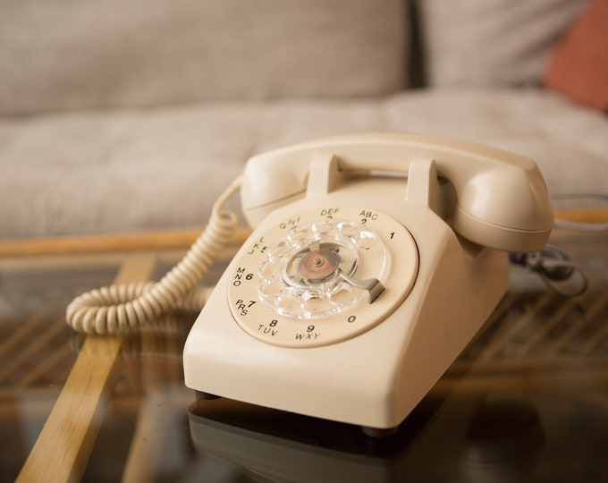 Vintage Beige Phone - WORKING 1970's Rotary Phone - Retro Stranger Things Telephone