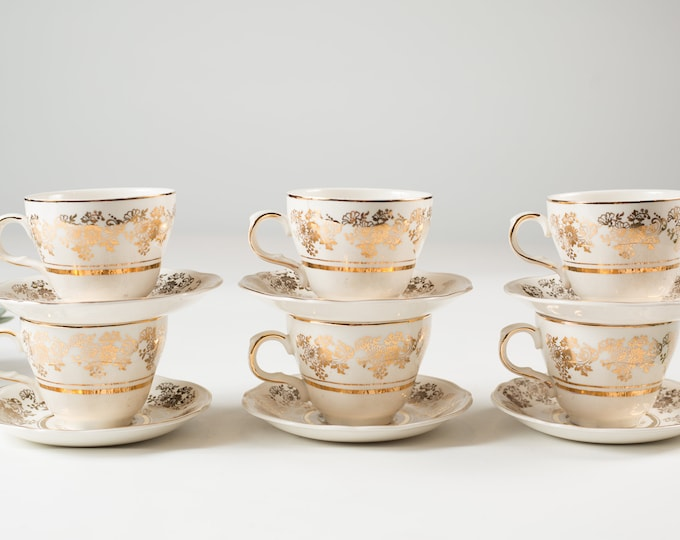 6 Alfred Meakin Vintage Cups and Saucers - English Floral Tea Cups with Flowers - Ornate 22kt Golden Posy Soup Bowls - Mothers Day Gift