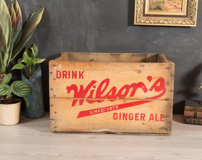 Vintage Soda Crate - Wilson's Ginger Ale Wood Pop Box with Red Letter Advertising - Soda Carrying Case - Home Industrial Rustic Shelving
