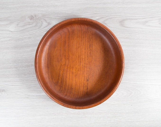 Teak Salad Bowl / Vintage Solid Exotic Wood Food Safe Serving Appetizer Dish Platter / Hand Carved Hardwood / Danish Modern Nordic Scandi