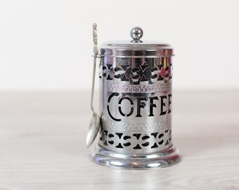 Vintage Coffee Canister -Coffee Grind Tin with Souvenir Spoon