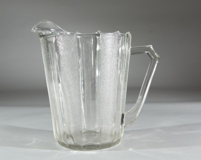 Vintage Glass Pitcher - Striped Pattern Cocktail Juice Jug - Antique Victorian Style Glass Pitcher