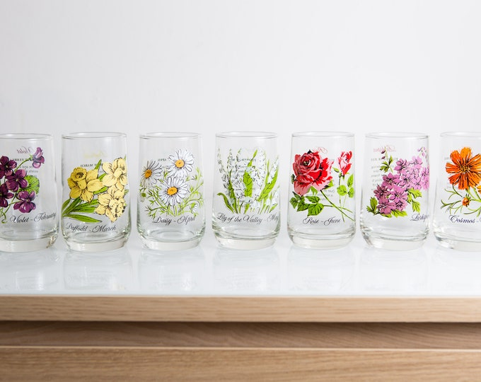 7 Vintage Glasses with Floral Motifs -  Flower of the Month Birthday Cocktail Glasses