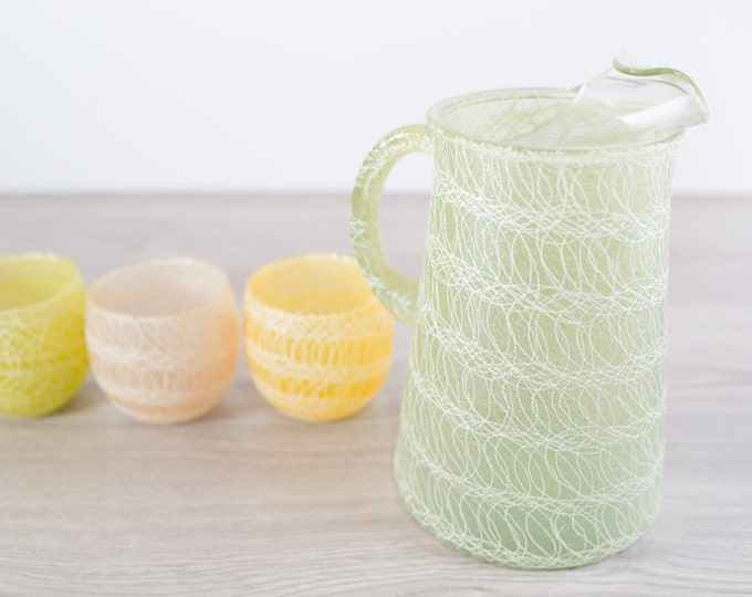 Vintage Juice Pitcher and Glasses Set with a Lace Pattern - Green, yelow, and pink / White Ribbed Ribbon / Mid Century Water Pitcher Set
